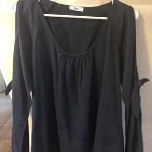Glam size S navy long sleeve blouse